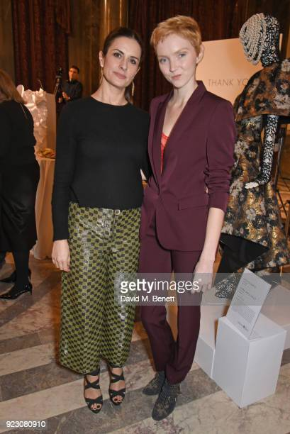 Livia Firth Founder and Creative Director of EcoAge and Lily Cole attend the VIP preview of the Commonwealth Fashion Exchange exhibition at the High...