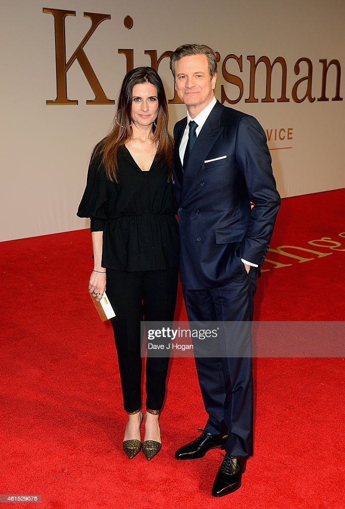 Livia Giuggioli and actor Colin Firth attend the World Premiere of 'Kingsman: The Secret Service' at the Odeon Leicester Square on January 14, 2015 in London, England.