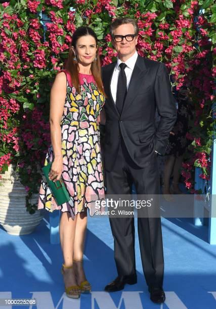 Livia Giuggioli and Colin Firth attend the 'Mamma Mia Here We Go Again' world premiere at the Eventim Apollo Hammersmith on July 16 2018 in London...