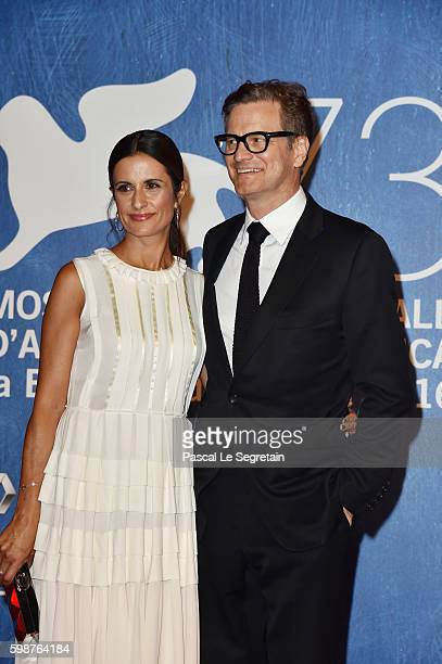 Livia Giuggioli and Colin Firth attend the premiere of 'Franca Chaos And Creation' during the 73rd Venice Film Festival at Sala Grande on September 2...