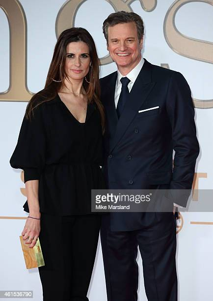 Livia Giuggioli and Colin Firth attend the World Premiere of 'Kingsman The Secret Service' at Odeon Leicester Square on January 14 2015 in London...