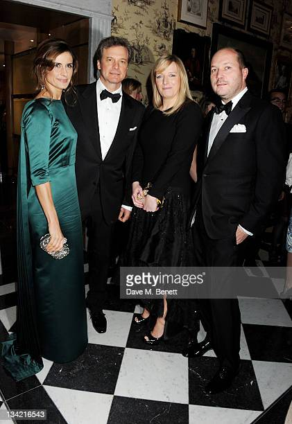 Livia Giuggioli Colin Firth Sarah Burton and David Burton attend a drinks reception at the British Fashion Awards 2011 held at The Savoy Hotel on...