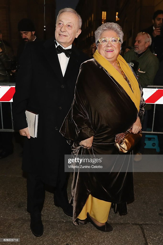 livia pomodoro and her husband arrive at the teatro alla scala