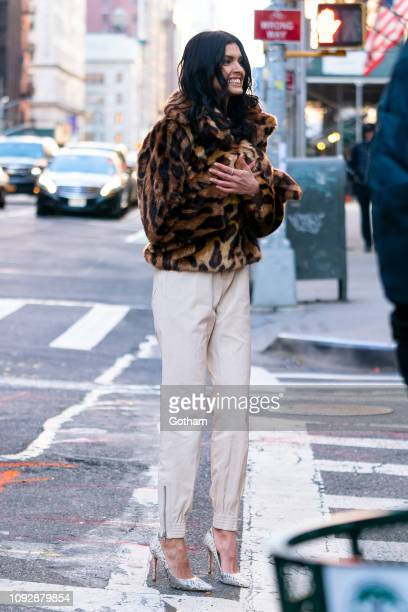 Livia Rangel is seen during a photo shoot for Maybelline in the Flatiron District on January 11 2019 in New York City