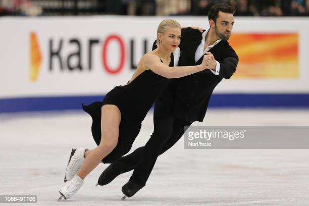 Livia Smart and Adrian Diaz of Spain compete in the Ice Dance Rhythm Dance during day three of the ISU European Figure Skating Championships at Minsk...