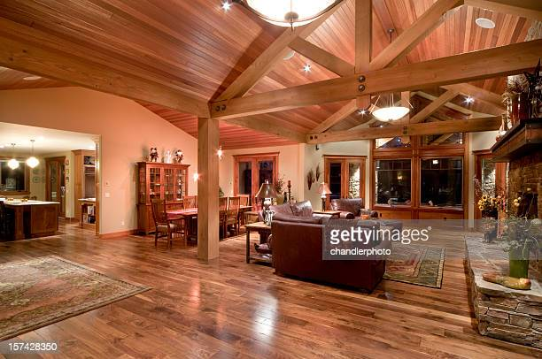 living and dining room - persian rug stock photos and pictures