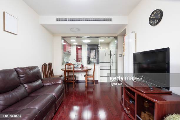 living and kitchen room interior - liyao xie stock pictures, royalty-free photos & images