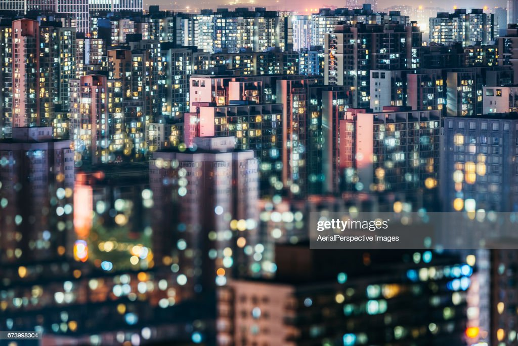 Living Apartment in Beijing at Night : Stock Photo