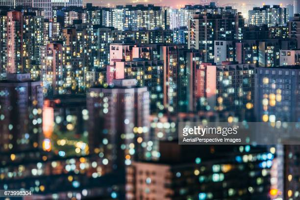 living apartment in beijing at night - 人口爆発 ストックフォトと画像