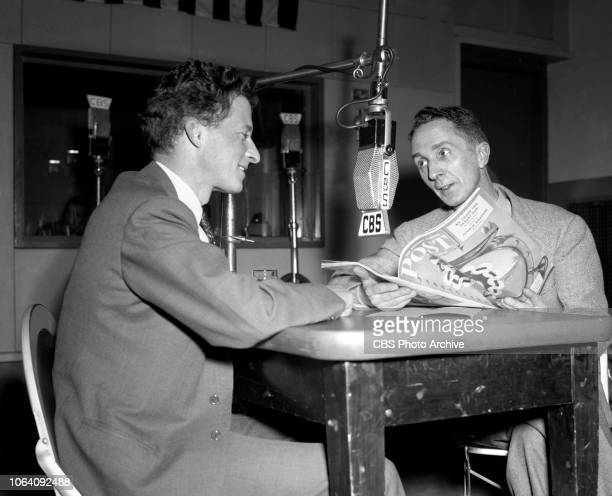 Living Art, a CBS Radio program. Left to right, unidentified man, and artist Norman Rockwell. February 1, 1943. New York, NY.