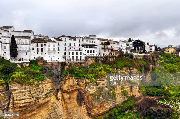 living at the edge of the cliff, ronda,andalusia,spain - ronda stock pictures, royalty-free photos & images