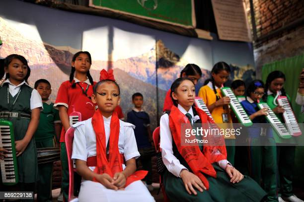 Living God of Kathmandu GANESH and Formal Living Goddess Kumari MATINA SHAKYA honor during her first day School at Kathmandu Nepal on Monday October...