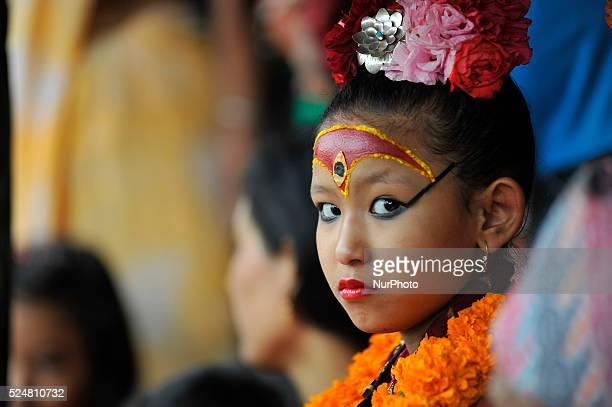 Living Goddess of Patan Unikia Bajracharya attends on celebration of Bhoto Jatra festival at Jawalakhel Patan Nepal on Monday 12 October 2015 Both...