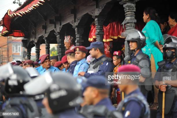 Living Goddess of Patan Unikia Bajracharya attends on celebration of Bhoto Jatra festival at Jawalakhel Patan Nepal on Thursday May 25 2017 Rato...