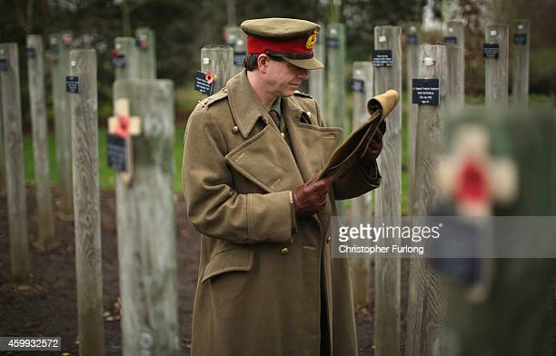 Living historian Paul Thompson poses as General Walter Congreve VC at the National Memorial Arboretum as he reads the general's letter from the...