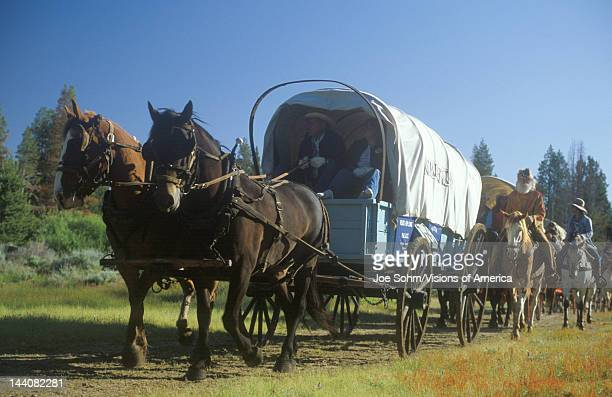 Living History participants in wagon train near Sacramento CA
