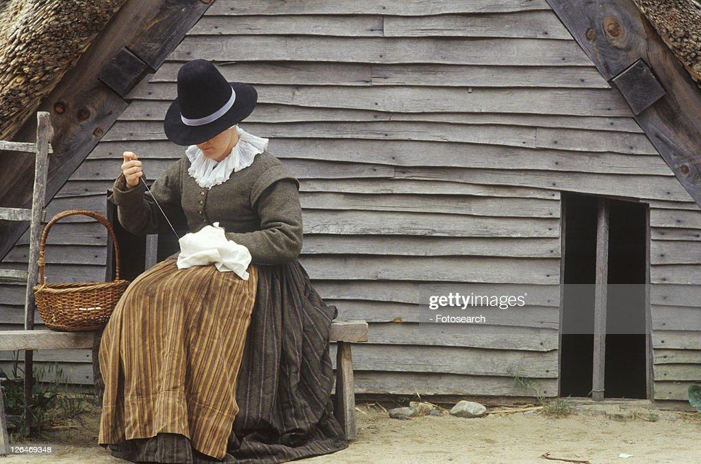 Living history reenactment of Pilgrims : Stock Photo