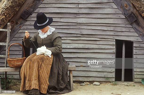 living history reenactment of pilgrims - historical reenactment stock photos and pictures