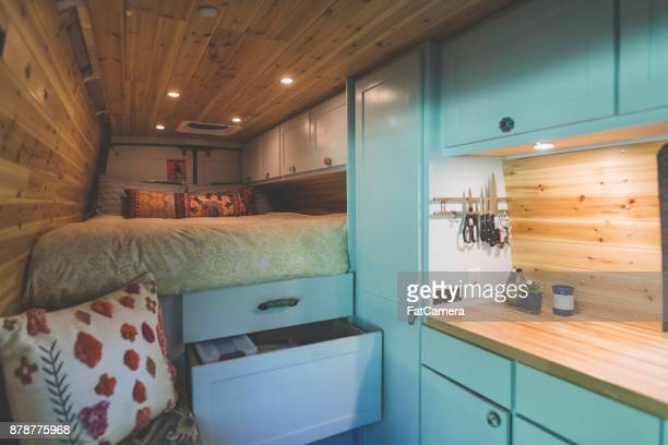 living in a van - vehicle interior stock pictures, royalty-free photos & images