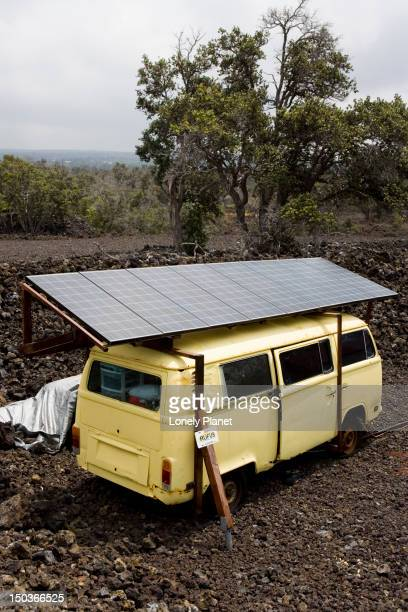 Living off the grid:  solar panel on a combi van generates electricity for Lova Lava Land accommodation, Ocean View, Ka'u.
