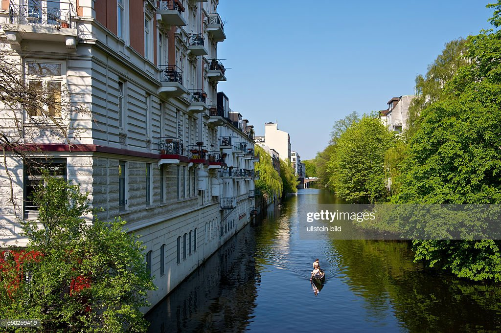 High Quality Living On The Water. Paddle Boat On The Alster Canal In Eppendorf. Hamburg,