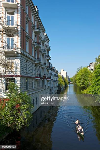 Living on the water Paddle boat on the Alster canal in Eppendorf Hamburg Hamburg Germany