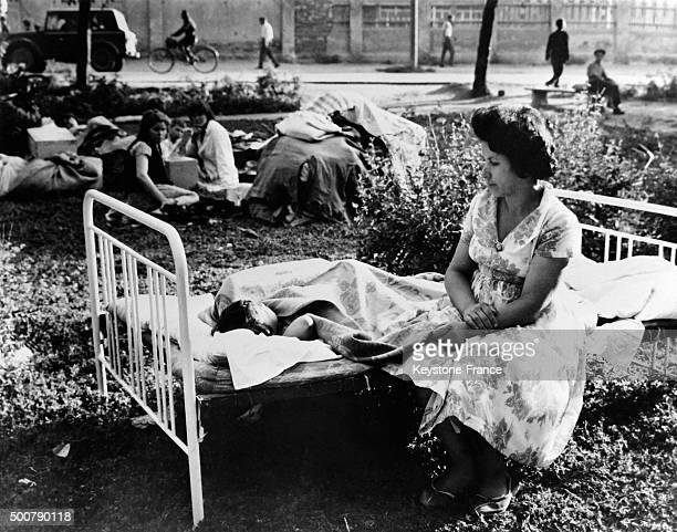 Living outside in Skopje the day after the earthquake which destroyed 80% of the city and caused the death of 10 000 people, thousands of wounded...