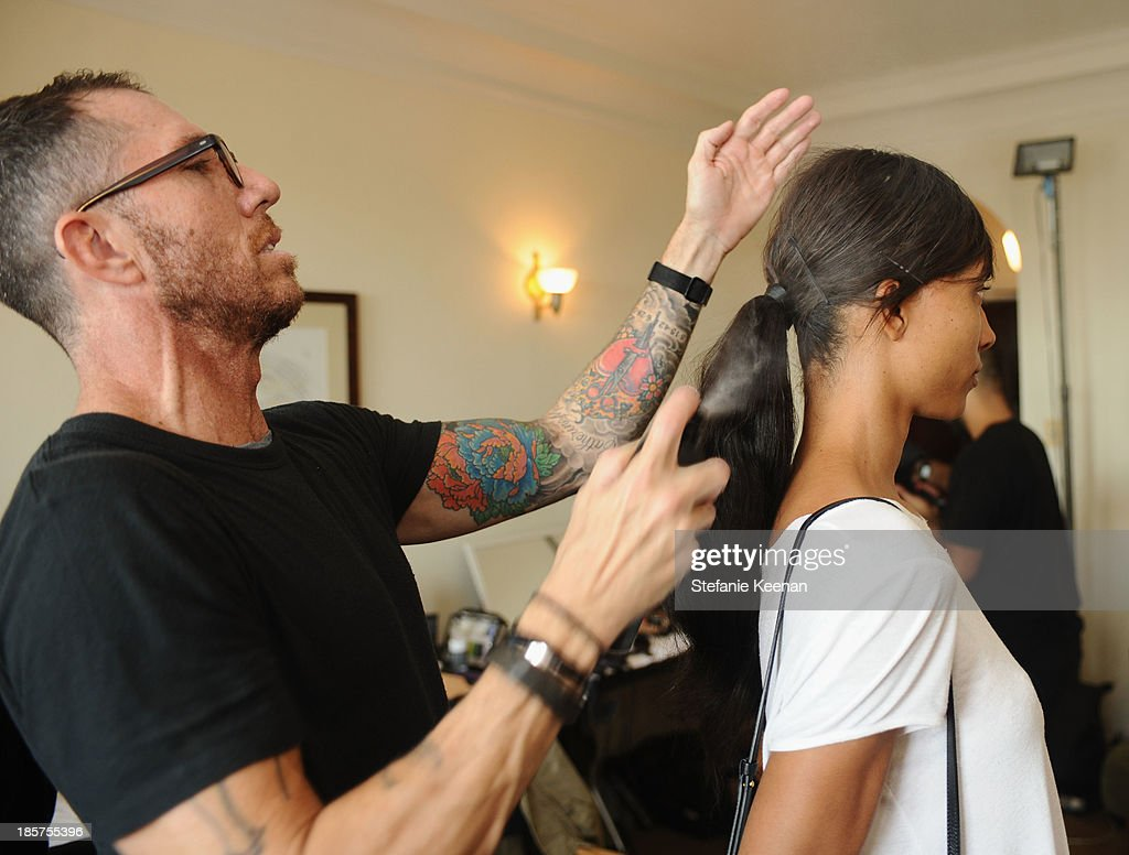 Living Proof hair stylist Chris McMillan at the CFDA/Vogue Fashion Fund Fashion Show Backstage Beauty by MAC Cosmetics and Living Proof at Chateau Marmont on October 23, 2013 in Los Angeles, California.