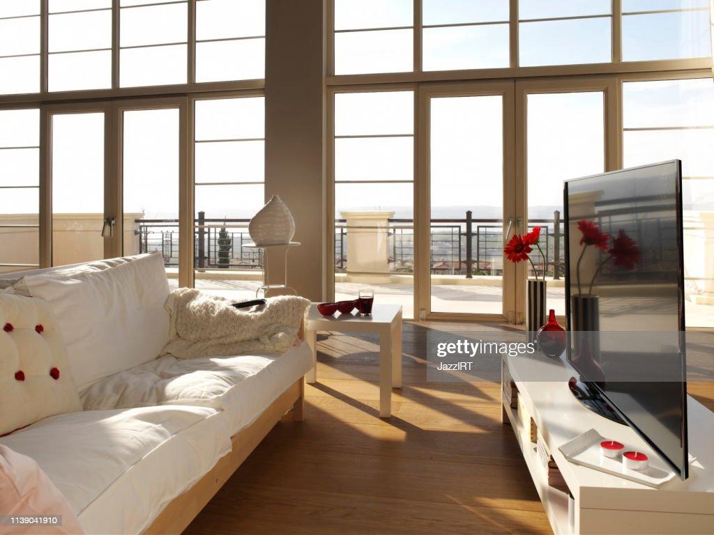 Sala de estar TV 4K : Foto de stock