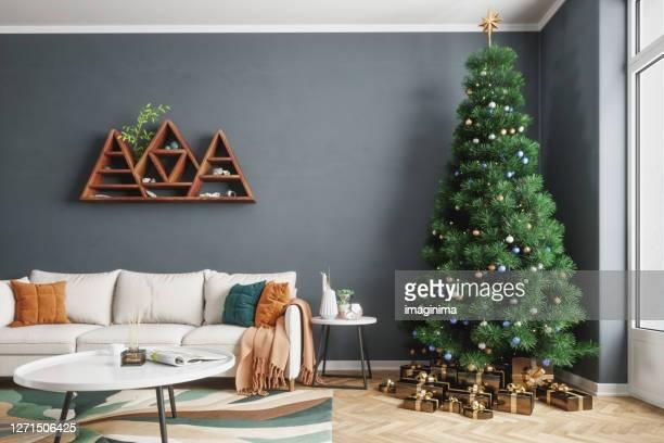 soggiorno e albero di natale - decoration foto e immagini stock
