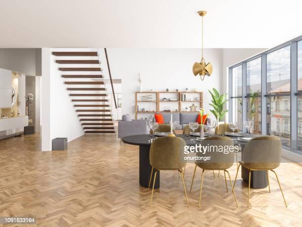 贅沢な家のダイニング ルームとリビング ルーム - 寄木張り ストックフォトと画像