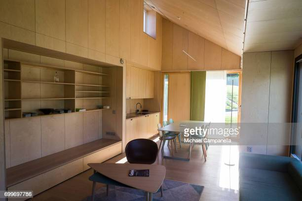 Living room and kitchen in a zeroemissions home which was built for an exhibition during the 2017 Starmus Festifval on June 22 2017 in Trondheim...