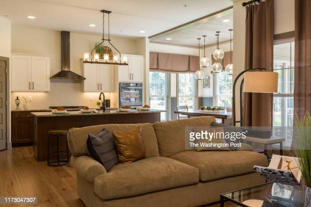 Living Room and Kitchen in the Capri Model Home at Villages of Savannah on September 25 2019 in Brandywine Maryland