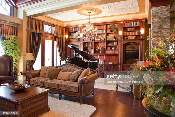 living room and study of luxurious home