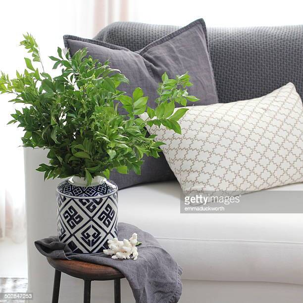 Living room couch with side table and plant