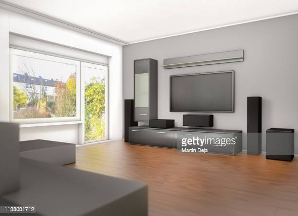 living room design 3d - lcd tv stock photos and pictures