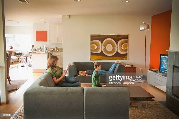 living room, family at home
