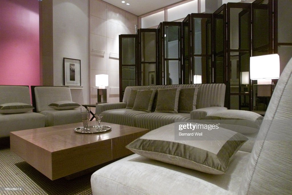 A living room from a model suite designed by alessandro munge and sai leung on