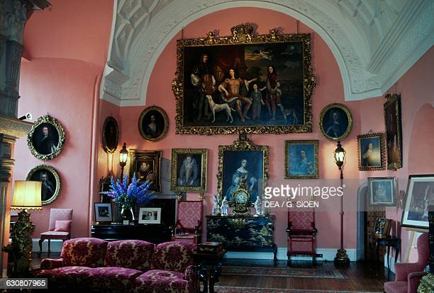 Living room Glamis castle childhood home of Elizabeth BowesLyon wife of King George VI and mother of Queen Elizabeth II Angus Scotland United Kingdom...