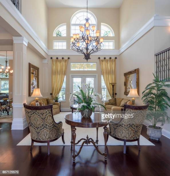 living room in an estate home - home showcase interior stock photos and pictures