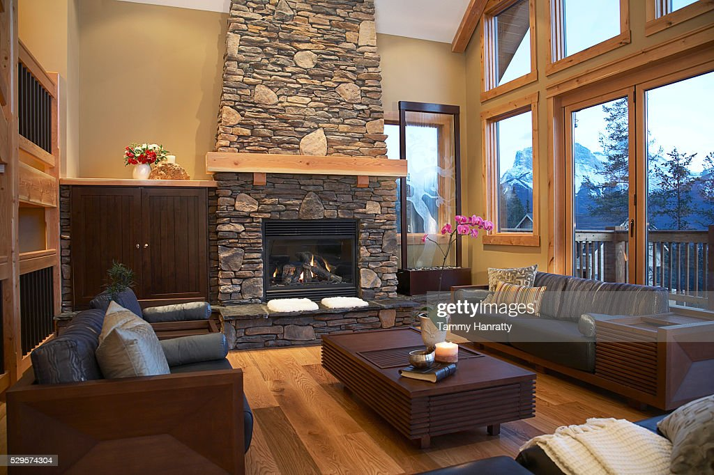 Living room in chalet : Stockfoto