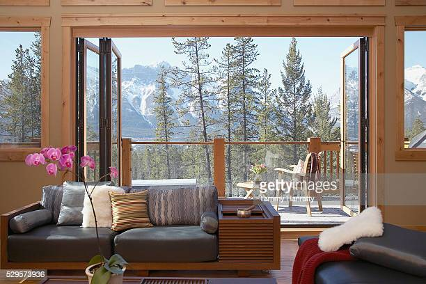 Living room in mountains