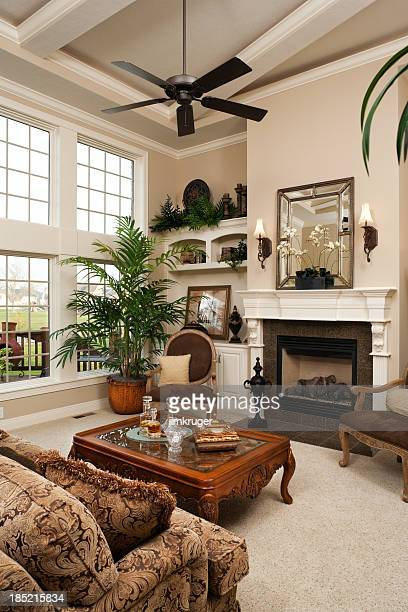living room in residential home. - feng shui stock photos and pictures