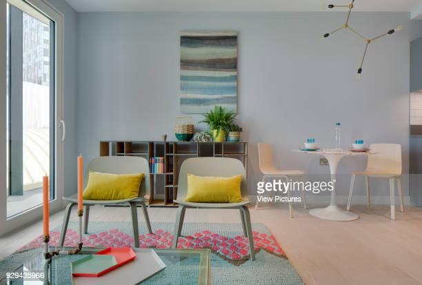 Living room in showroom flat. Gateway Pavilions, London, United Kingdom. Architect: Marks Barfield Architects, 2014.