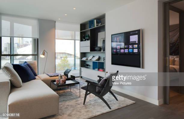 Living room in showroom flat Gateway Pavilions London United Kingdom Architect Marks Barfield Architects 2014