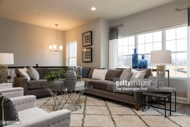 Living Room in the Ellicott model home at Spring Creek on January 24 2018 in Laurel Maryland