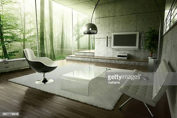 living room in the forest - home showcase interior stock pictures, royalty-free photos & images