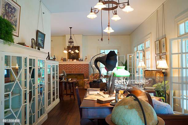 Living room interior and gramophone at winter estate home Seminole Lodge of famous inventor Thomas Edison at Fort Myers Florida USA