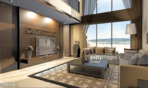 living room interior at seashore - beach house stock pictures, royalty-free photos & images