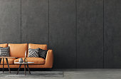 Living room interior in loft, industrial style